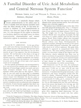 The first page of the original publication by Lesch and Nyhan in 1964