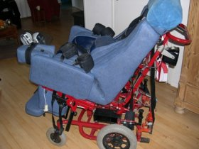 This is an example of a custom made wheelchair of a Lesch-Nyhan patient.